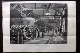 ILN 1880 Print. The St. Gotthard Tunnel - Air-Compressing Machinery, Airolo